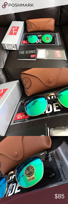 Brand new ray ban rb3016 clubmaster sunglasses I'm selling a pair of ray ban have size 49mm . They come with everything shown on the first picture. They're 100% authentic so buy with confidence! Thanks for looking. Look at my reviews before buying!! :) Ray-Ban Accessories Sunglasses