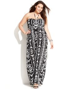 INC International Concepts Plus Size Embellished Printed Halter Maxi Dress - Plus Size Dresses - Plus Sizes - Macy's