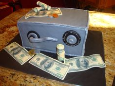 bank safe money cake