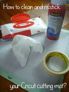 Wipe off your cutting mat the best you can, allow it to dry, then cover the borders of the mat with masking tape to apply an even thin coat of an adhesive spray, let it set and you are done, your mat will be sticky again! the more spray you apply the more stickier it gets, so be careful, too much of it may damage your paper work, good luck!
