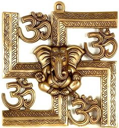 Ganesha, Om, Swastika (ancient symbol of a spinning chakra)