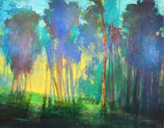 """Moonlight Begins: Coppice 2008 Mark Gould - Dancing Crow Studio Paintings I Love, Acrylic Paintings, Watercolor Paintings, Moonlight Painting, Landscape Artwork, Art For Art Sake, Tree Art, Contemporary Paintings, Original Art"