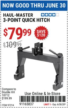 Haul Master 3 Point Quick Hitch For 79 99 Harbor Freight Tools Haul Work Conditions