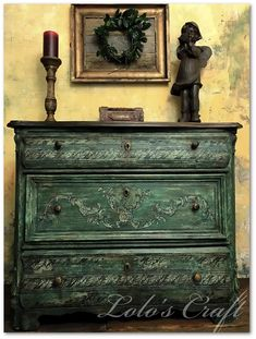 Karolina Lolo's Distressed Green Painted Stamped Chest,