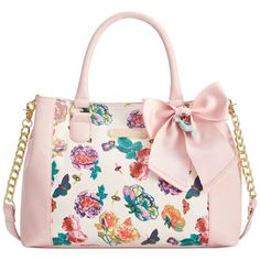 Betsey Johnson Floral Satchel ($98) ❤ liked on Polyvore featuring bags, handbags, floral purse, white satchel handbags, white satchel, chain strap handbag and floral print purse