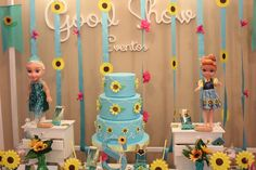 Fantastic dessert table at a Frozen Fever birthday party! See more party planning ideas at CatchMyParty.com!