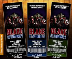Avengers birthday invitation avengers ticket by TrendyOrangePixels