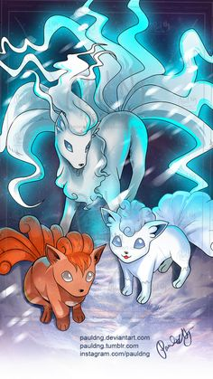 Pokemon - Alola Ninetales, Alola Vulpix by pauldng - wow, awesome art😮 Ninetales Pokemon, Alolan Vulpix, Pokemon Alola, Pokemon Tattoo, Pokemon Fan Art, Cool Pokemon, Cute Pokemon Pictures, Cute Pokemon Wallpaper, Alola Forms
