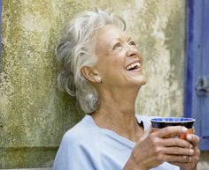 Gray Haired Woman Laughing