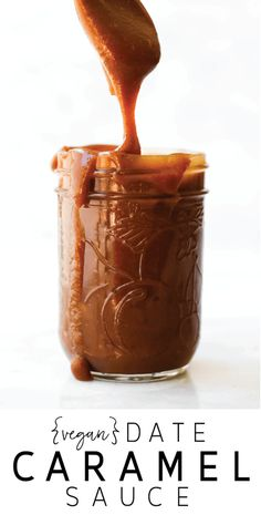 Vegan Date Caramel Sauce. THE best caramel sauce I've had!! So easy to whip up and it actually holds its pourable consistency!