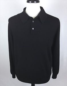 Neiman Marcus Sweater Wool Black Italy Polo Neck Luxury Knit Mens Medium XL | eBay