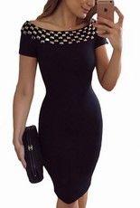 Vykladané bodycon šaty - čierne