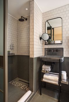 Moxy Hotel NYC, bathroom with in-room sink, Yabu Pushelberg design. Bathroom Small bedroom ideas to steal from the Moxy Hotel NYC Hotel Bathroom Design, Apartment Bathroom Design, Hotel Room Design, Modern Bathroom, Small Bathroom, Hotel Bathrooms, Bathroom Sinks, Small Space Design, Small Spaces