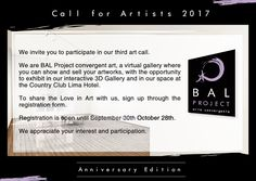 Call for Artists 2017: Anniversary Edition, Extended till October 28th