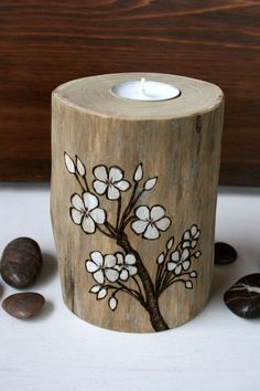 Apple Blossoms - Driftwood Tealight Candle Holder - Woodburning. $28.00, via…