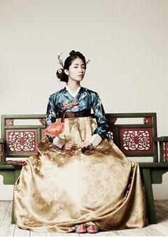 Korean traditional dress (hanbok) Blue and Gold Korean Traditional Dress, Traditional Fashion, Traditional Dresses, Korean Dress, Korean Outfits, Ethnic Fashion, Asian Fashion, Modern Hanbok, South Korea