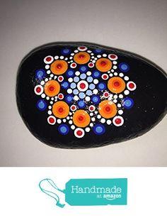 Hand Painted Mandala Stone #122 from Mafa Stones http://www.amazon.com...Amazing brightness and color!