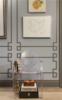Faux paneled walls, you could do this in so many different ways, only needing paint and tape.