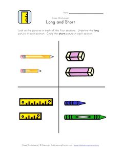 This free length worksheet focusses on the concepts or long and short. Kids are asked to identify the classroom related objects that are long and short in each section. Kindergarten Spelling Words, Shapes Worksheet Kindergarten, Kindergarten Math Activities, Preschool Writing, Kindergarten Worksheets, Preschool Assessment, Short I Worksheets, Free Printable Worksheets, Five Senses Worksheet