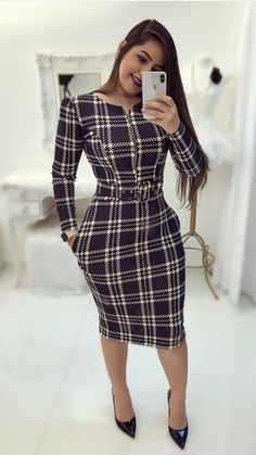 Shop Plaid Print Long Sleeve Belted Bodycon Dress right now, get great deals at Voguelily. Classy Outfits, Chic Outfits, Dress Outfits, Fashion Outfits, Dress Clothes, Trend Fashion, Work Fashion, Modest Fashion, Cute Dresses