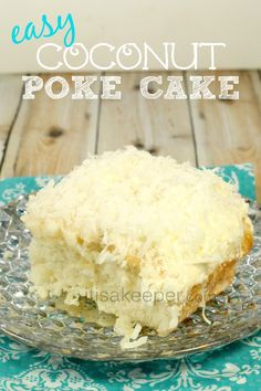 This Coconut Poke Cake is one of my favorite easy dessert recipes. I have a love affair with coconut.