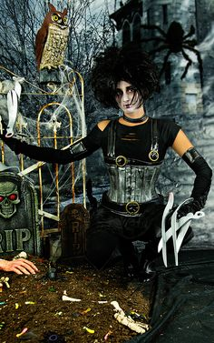 Looking for the perfect Steampunk Leather Corset? DIY in just minutes! Alma looks AMAZING as Edward Scissorhands