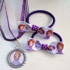 Rapunzel Princess Boutique Bottlecap Pendant Necklace with matching Large Hair Bow Clip by OliverandMay, $9.50