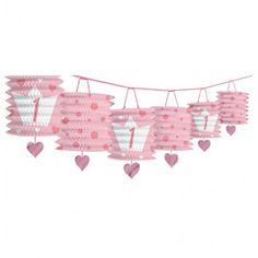 1st Birthday Party Pink Lantern Garland