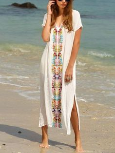 dad4ca95dbf50b Beautiful White Bohemia Short Sleeve Deep V Neck Beach Maxi Dress White  Embroidery
