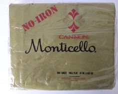 "Vintage 1970s Cannon Monticello Flat Sheet Full Double 81""X104"" Green NOS"