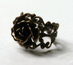 Antique brass rose ring