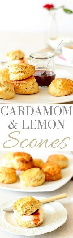 Lemon and Cardamom Scones. A delicious scones recipe that you'll find yourself making over and over again. Brunch Recipes, Snack Recipes, Dessert Recipes, Snacks, Desserts, Scone Recipes, Lemon Recipes, Sweet Recipes, Baking Recipes