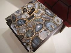 My dad made a coffee table of sliced agate when I was a kid.  It was beautiful.