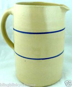 Crock Pitcher Country Cottage Kitchen Vintage Service American Pottery
