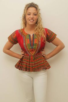 Top plissé dashiki rouge by AfricanStyleAS on Etsy