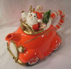 Fitz Floyd Santa Christmas Car Teapot Vintage Candy Cane Reindeer Toys | eBay