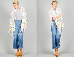 Ela Hawke Vintage // WHITE CROCHET KNIT SHAWL $49 // #elahawkevintage #70s #white #crochet #knit #shawl #neon #flower #flowers #tassels #hippie #gypsy #bohemian #hobo #bohemia #festival #vintage #shop #online #clothing #shopping #fashion