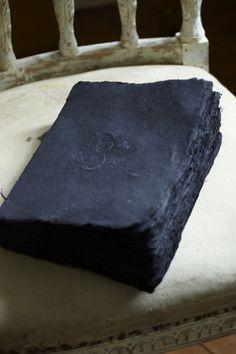 Handmade indigo paper bound into a book.