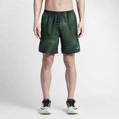 """COMFORTABLE SUPPORT The Nike 7"""" Distance Printed Men's Running Shorts feature supportive built-in briefs and lightweight, sweat-wicking fabric for complete comfort from mile one to done. Lightweight Support Lightweight built-in briefs enhance support and coverage while providing a soft, comfortable feel during repetitive running movements. Sweat-Wicking Mobility Dri-FIT fabric helps keep you dry and comfortable by wicking sweat away from your skin to the fabric's surface, where it quickly…"""