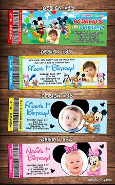 Mickey Mouse Clubhouse Baby 1st Birthday Party Photo Ticket Invitations Minnie First