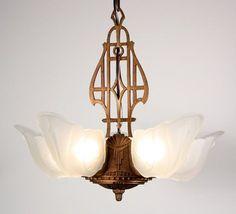 Fabulous Antique Five-Light Art Deco Slip Shade Chandelier, Cast Iron, 1930s