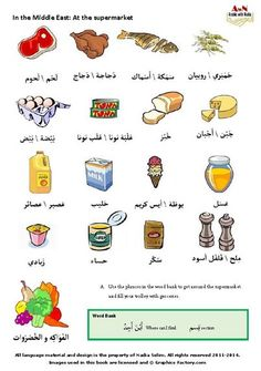 Here are some food items. For more visit www.arabicwithnadia.com www.facebook.com/arabicwithnadia Arabic Sentences, Arabic Phrases, Arabic Words, Spoken Arabic, Learn Arabic Alphabet, Learn Arabic Online, Arabic Lessons, Reading Practice, Grammar And Vocabulary
