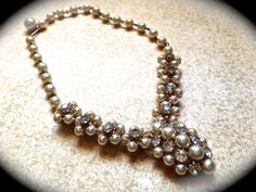 Vintage wedding pearl and rhinestone necklace by JNPVintageJewelry, $58.00
