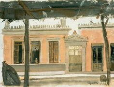 Houses in Greek painting - Yiannis Tsarouchis-NJH Studio Old Greek, Greek Art, Three Story House, Greek Paintings, Neoclassical, Athens, Art Drawings, Print Patterns, Images