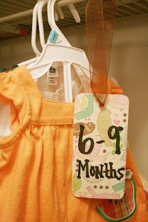 Cheap Homemade Closet Dividers for Baby Clothes...really easy! - @Emily Schoenfeld Powers great idea to organize Noahs closet.