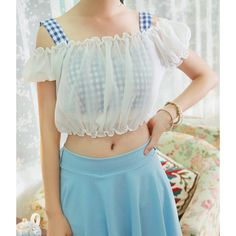 Refreshing Style Off-The-Shoulder Short Sleeve Plaid Chiffon Women's Crop TopVests | RoseGal.com