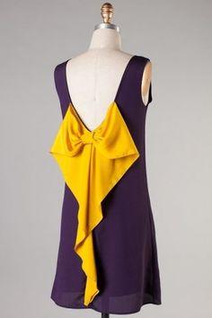 Purple  Gold Bow Back Gameday Dress.  Love the yellow detail.  #kendrascott #teamKS