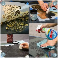 stencil how to reverse stenciling and gilding on glass, painted furniture, Large Florence Tile Wall Stencil Decoupage, Decorative Mouldings, Idee Diy, Paperclay, Diy Mirror, Stencil Painting, Stencil Designs, Cool Diy Projects, Diy Design