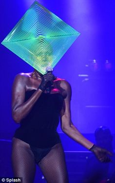 The future's bright, the future's Grace: The singer sported a distinctive green neon square hat