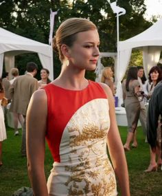 "Emily Thorne from ""Revenge"" played by Emily VanCamp in Carolina Herrera Gold Baroque Jacquard Dress – 3x01 ""Fear"""